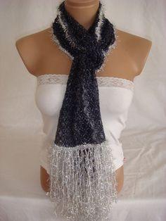 Hand crocheted dark blue veil silver color yarn by Arzus on Etsy, $32.90