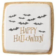 #Watercolor Bats Halloween Square Shortbread Cookie - #Halloween happy halloween #festival #party #holiday