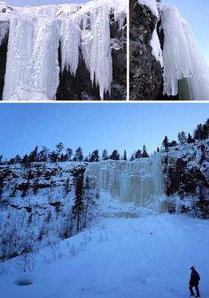 Freeze Frame: 10 Very Cool Frozen Waterfalls - WebEcoist Waterfalls, Freeze, Finland, Mother Nature, Travel Destinations, Cool Stuff, Pictures, Outdoor, Beautiful
