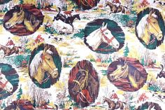 "Horse Equestrian Fabric Fall Hunt Background Appx 44 x 100"" Pony Riding Race…"