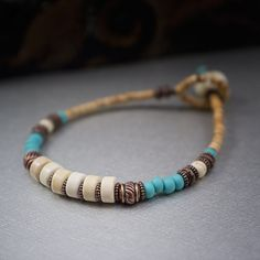 boho beaded bracelet  turquoise and cream  simple by entre2et7