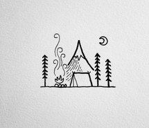 Inspiring image adventure, art, bonfire, camping, drawing, forest, hiking, illustration, moon, tent, wanderlust, woods #4117930 by Bobbym - Resolution 696x696px - Find the image to your taste