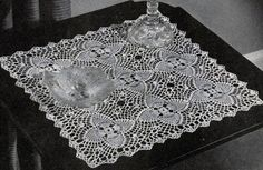 Pineapple Night Table Doily  crochet pattern from Pineapples on Parade, Clark's O.N.T. J. Coats, Book No. 241, in 1948.