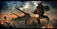 """Big Bertha"" and ""Iron Hans"" by Vladimir Manyukhin on ArtStation."