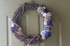 RESERVED for COLE Wreath  Grapevine  Dallas Cowboys by E3ONE, $35.00