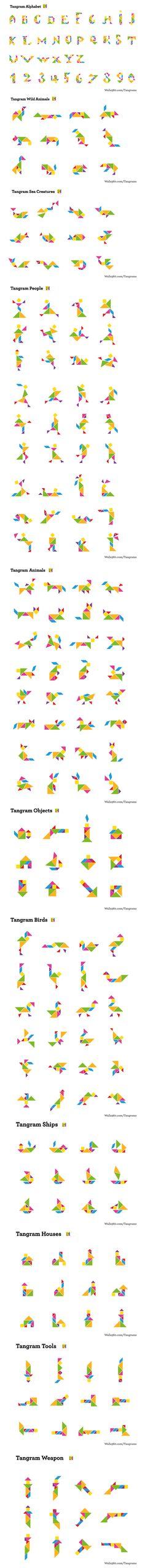 Infinite visual possibilities from Tangrams. http://www.walls360.com/tangrams