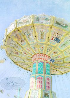 Pastel Swings- Fair Photography- Carnival Ride- Colorful Swings- Bright Pastel Colors- Teal Pink- Children's Decor- 8x12 Fine Art Print