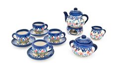 Blue Rose Polish Pottery: Garden of Eden Miniature Tea Set