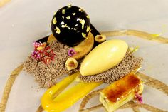 Jivara Milk Chocolate Mousse, Nutella Powder, Hazelnut Shortbread, Orange Fluid Gel, Hazelnut Praline Ice Cream, Brulee Banana by Pastry Chef Antonio Bachour, via Flickr