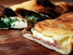 Stuffed Pizza with Variations: Spinach and Fontina, Escarole, Anchovy, Pine Nut and Raisin, Prosciutto Cotto and Scamorza from CookingChannelTV.com