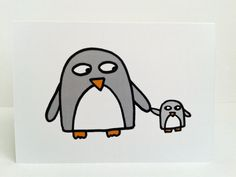 Baby Penguin Card- New Baby - Single Parent -New Parent - Birthday - Mother's Day card by penguinparadeshop on Etsy https://www.etsy.com/uk/listing/231824681/baby-penguin-card-new-baby-single-parent