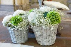 white and green hydrangea + baby's breath church decor