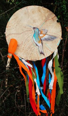 Shamanic drum with hummingbird,16''inches by NayamoonGallery on Etsy