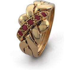 7d858e65a1b 14K Gold 4 Band RUBY Puzzle Ring 4B141RUBY Colar De Garrafa