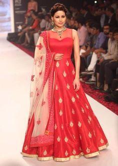 Beautiful -https://www.cooliyo.com/product/100510/art-silk-machine-work-red-semi-stitched-long-anarkali-suit/