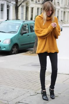 slim knit mustard sweater #fashion #style #StreetStyle