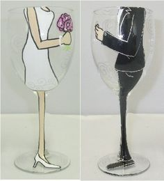 Bride and Groom Hand Painted Wine Glass