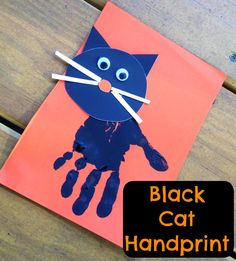 Halloween Kids' Craft: Black Cat Handprint #halloweenhandprints #halloweencrafts #halloweenkids #halloweenkidsactivity