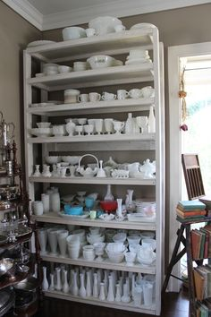 Our milk glass collection is huge, all for rent for your vintage wedding or party! Vintage Dishes, Vintage Glassware, Milk Glass Cake Stand, Glass Dishes, Vintage Pottery, Glass Collection, Antique Glass, Decoration, Shabby