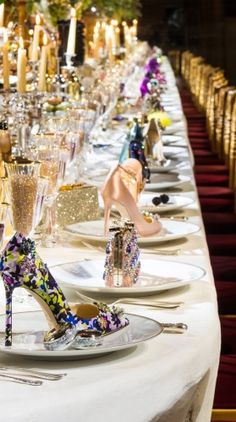 """Talk about showering your guests with gifts with the Jimmy Choo accessory collection.⠀ ⠀ openingnflowers:⠀ ⠀ Dinner parties done right with Jimmy Choo's. ⠀ Inspiration via Jimmy Choo ⠀ by Jimmy Choo, Couture Week, Girls Heels, Beautiful Table Settings, Dinner Is Served, Deco Table, Decoration Table, Event Decor, Tablescapes"
