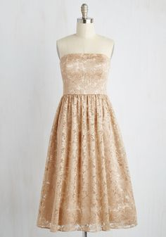 Decadence the Halls Dress - Gold, Solid, Lace, Special Occasion, Prom, Party, Holiday Party, A-line, Strapless, Woven, Better, Sparkly2015, Long, Lace