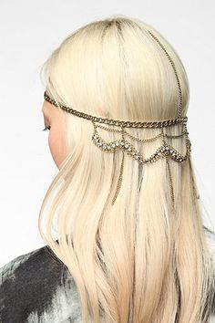 Draped Rhinestone Goddess Chain Headwrap - Gold - One Size