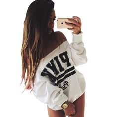 2016 Women Fashion Brand Hoodie Pink Letter Print Sweatshirt Knitted Long Sleeve Pullovers Polerones Mujer Harajuku Tops