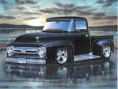 1956 Ford F100 Pickup Truck Hot Rod Art Print black