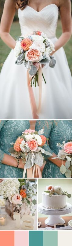peach and teal wedding color ideas for 2016