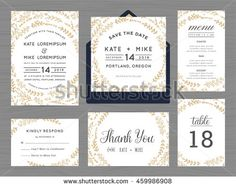 Set of wedding suite template decorate with wreath flowers in golden color includes save the date, wedding invitation, wedding menu, RSVP, thank you card, table number. Vector illustration.