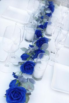 Royal Blue Centerpieces, Royal Blue Wedding Decorations, Blue Party Decorations, Wedding Ideas Blue, Royal Blue Wedding Cakes, Flower Garland Wedding, Floral Garland, Flower Garlands, Greenery Garland