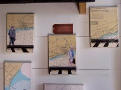 Fun up cycled vintage map art work, by Kara Schuster. starts at 65.00 and up