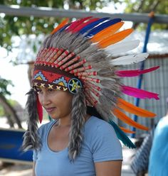 Hand Made Indian Headdress, Native American Warbonnet Real Feather
