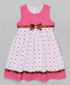 Littoe Potatoes Pink Polka Dot Rhinestone Bow Dress - Toddler & Girls   zulily