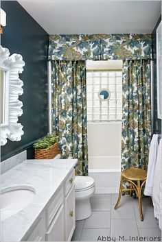 Ming Dragon Shower Curtain with Valance by Tonic Living for @Abby M. Interiors  #OneRoomChallenge Bathroom reveal . Amazing results! #tonicliving #showercurtain #dragonfabric #DwellStudio @DwellStudio