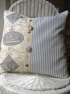 Pillows Pillows.....let me rest my head / Navy Blue Ticking Paris Ribbon French by ParisLaundryDe... by Subjects Chosen at Random