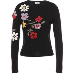 REDValentino Floral Intarsia And Crochet Detail Knit Jumper found on Polyvore featuring tops, sweaters, intarsia sweaters, floral print sweater, long sleeve sweater, flower sweater and floral sweater
