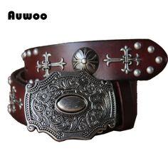 2016 Men Retro Gothic belt personality rivets belts steam punk Heavy metal rock belt handmade genuine leather Cinto