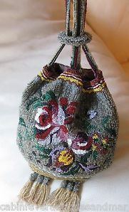 Vintage Art Deco Grey Gold Amber Red Floral Beaded Handle Tassel Flapper Purse