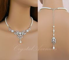 Backdrop Wedding Necklace, Bridal Jewelry, Pearl Wedding Necklace SET, Crystal Bridal Earrings, Swarovski, Kathryn Bridal Jewelry