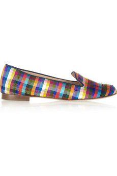 Slight heel Multicolored plaid satin-shantung Navy suede trims, leather lining, almond toe Slip on Motif Tartan, Phillip Lim Bag, J Crew Flats, Smoking Slippers, Man Smoking, Satin, Classic Man, Crazy Shoes, Loafer Flats