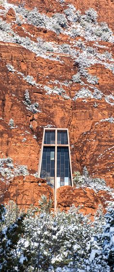 Chapel of the Holy Cross - one of Sedona, Arizona's famous landmarks, with a dusting of snow.
