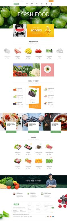 Fresh is clean and modern premium 3 in 1 #PSD Template for organic #food #store #website. Download Now!