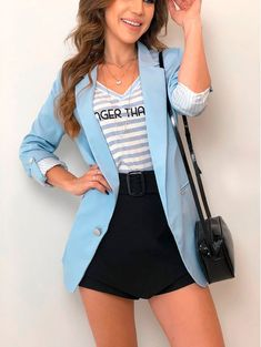 For Sale - Hot Sale Fashion slim blazer Women Women Basic Notched Collar Solid Blazer Open Front Notched Chic Tops Autumn Pink Blue Blazer Outfits, Blazer Fashion, Fashion Outfits, Womens Fashion, Short Outfits, Trendy Outfits, Cute Outfits, Style Désinvolte Chic, My Style