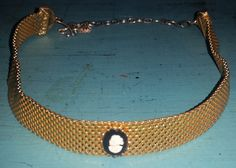Cameo on gold-toned Choker, Costume piece, 1970's by RAVsLostAndFound on Etsy