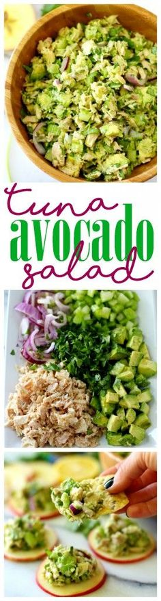 healthy meals food recipes diiner cooking Skip the mayo and try this Easy Avocado Tuna Salad w/ Wild Selections! It's super flavorful, easy to make and a much healthier alternative to your favorite classic tuna salad recipe! Avocado Tuna Salad, Avocado Dessert, Healthy Tuna Salad, Tuna Pasta Salads, Avocado Chicken Salads, Easy Tuna Salad, Stuffed Avocado, Shrimp Avocado, Easy Salads