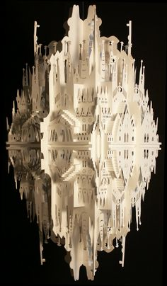 "Masters of Paper Art and Paper Sculptures, Part II ""Reflection on Sagrada Familia""    Inspired on Antoni Gaudi his masterpiece the Sagrada Familia, situated in Barcelona - Spain. Measurements: 60cm x 30cm x 30cm."