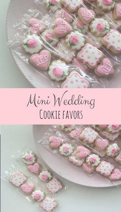 Wedding Cookies, Mini Cookies, Shower Cookies, Wedding Favors, Shower Favors, Girly Cookies, Birthday Cookies, Party Favors, Treat Bags #affiliate