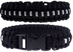 "3 Pack of Premium Paracord / Para-cord Survival Bracelets 8"" (Medium) - 7/8"" Buckle, 4-Strand Core, 11.8 Feet, 7 Inner Yarns - Thin Blue / Red / White Line - The Friendly Swede"