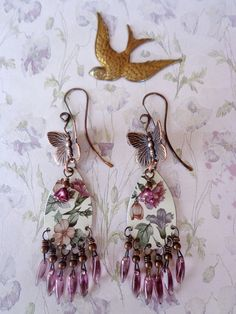 Butterfly Tin Earrings by qisma @ Etsy, Bohemian jewelry, Floral Tin Earrings